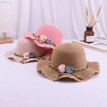 Fashion Children's Woven Straw Hat shoulder Bag Set Summer Girl Cute Cartoon Strawberry Beach Travel Sunscreen Wave Lace Sun Cap