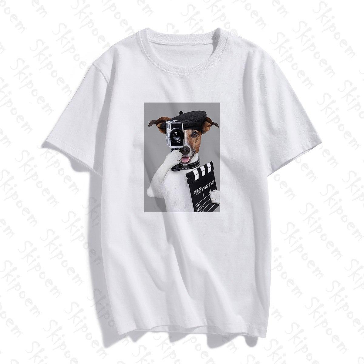 Engraçado cão fotógrafo tshirt feminino estético tumblr estilo coreano do vintage plus size manga curta algodão roupas camiseta femme