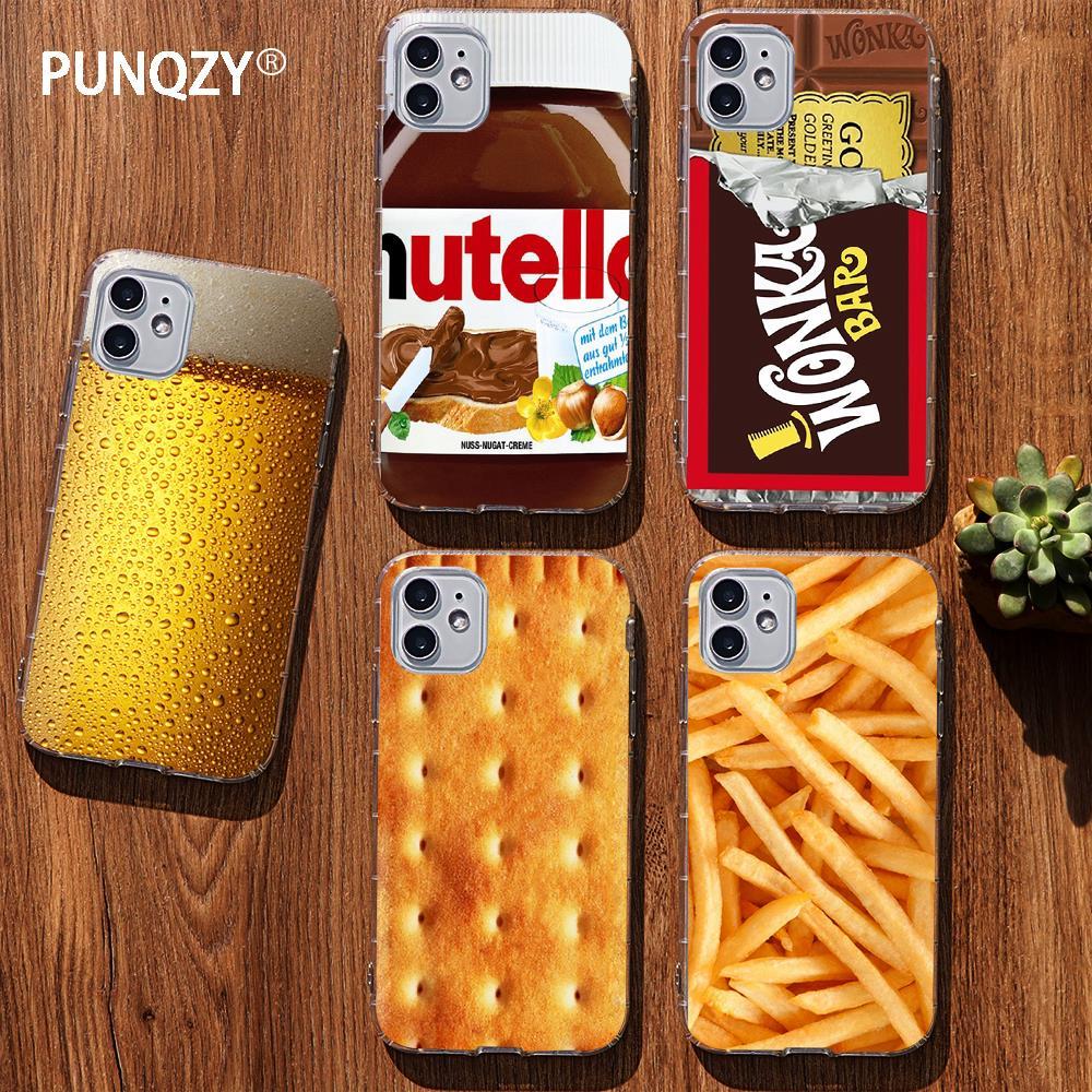 Funda de teléfono divertida PUNQZY con diseño de galletas, Chocolate, patatas fritas y hamburguesas para Samsung GALAXY S11, S10, S8, S9 Plus, A30, y A70 A50, funda de TPU blanda para alimentos