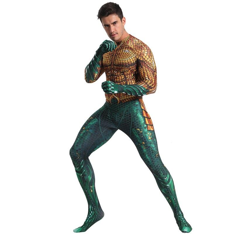Film Aquaman Cosplay Kostüm Superhero Arthur Curry Cosplay Zentai Bodysuit DC Superhero Halloween Kostüm Anzug Freies Verschiffen