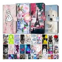 kids etui card holder wallet flip case for samsung galaxy s5 s6 s7 s8 s9 plus flower cat butterfly pattern phone book cover