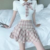 2021summer women cute two pieces set white t shirt high waist girls mini plaid pleated skirt preppy style