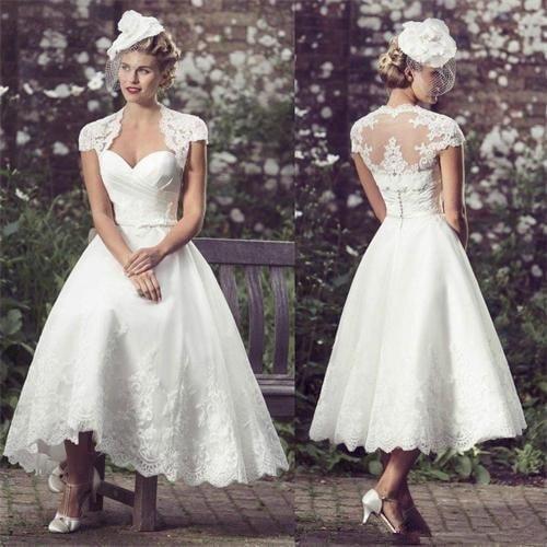 White Short Wedding Dresses 2020 Tea Length Bride Dress Cap Sleeves Sweetheart Lace Robe De Mariée Vestido De Novia A-line Gowns