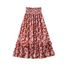 Tangada women floral pleated beach midi skirt faldas mujer vintage strethy waist holiday ladies chic mid calf skirts 6A160