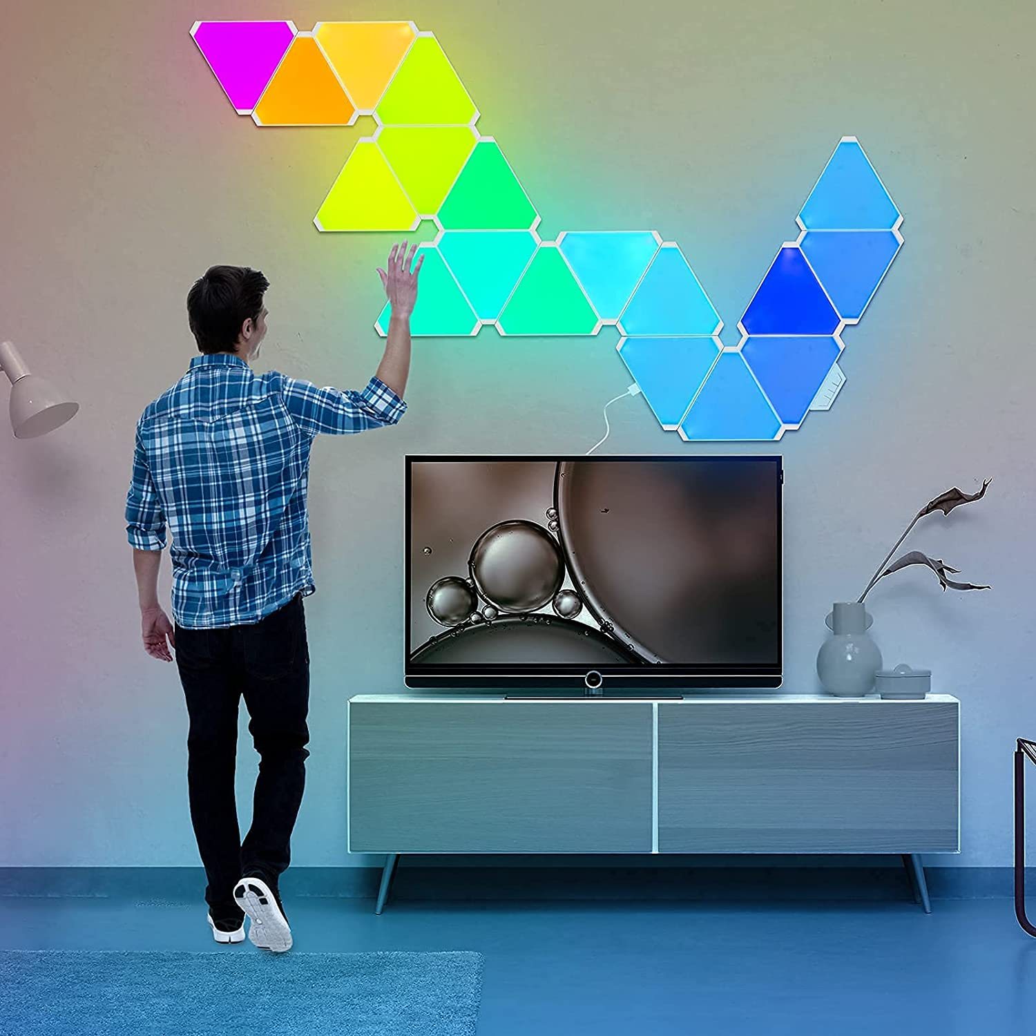 Triangle Light Panels | Music Sync Wall-Mounted Smart Kit, Work with Alexa, for Iiving Room,Bedrooms ,DIY Lovers, Gifts