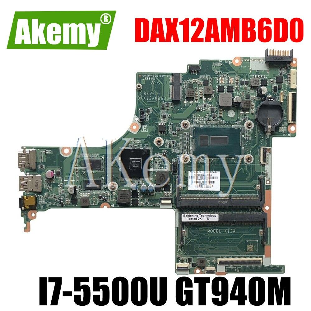 809045-601 de 809045-001 para For HP Pavilion 15-AB placa base de computadora portátil DAX12AMB6D0 SR23W I7-5500U CPU 940M 2GB GPU DDR3
