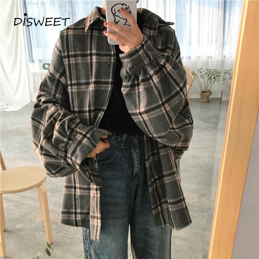 2019 Harajuku Autumn Plaid Thin Section Wool Cardigan Korean Puff Sleeve Slim Warm Shirt Jacket Retro Casual Women Button Top