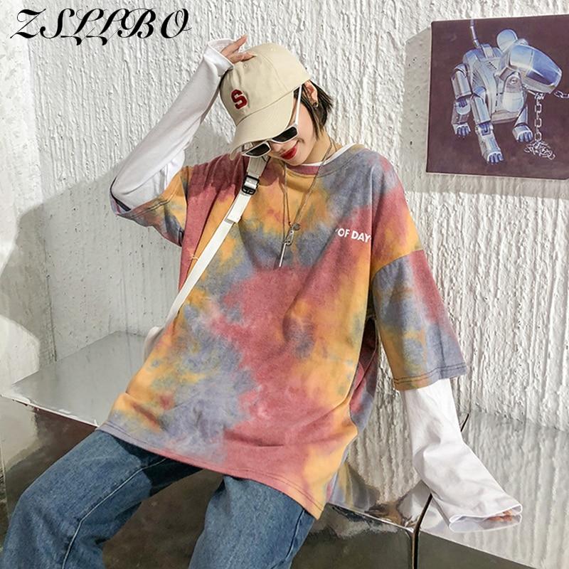 Maré nacional manga curta tie-dye camiseta feminino maré 2020 verão nova net vermelho coreano solto bf cinco pontos manga meia manga