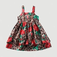 summer kids dresses girls flower print suspender dress kids elegant princess dress children party ball pageant dress outfit