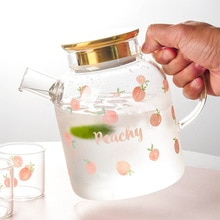 Household Japanese Style Peach Glass Jug Cold Kettle Set Flower Tea Fruit Teapot Tea Maker Cold Boil