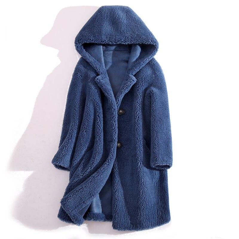 Высококачественное пальто средней длины с капюшоном из шерсти Новинка Женское зимнее размера плюс пальто из искусственного меха Ropa Mujer ...