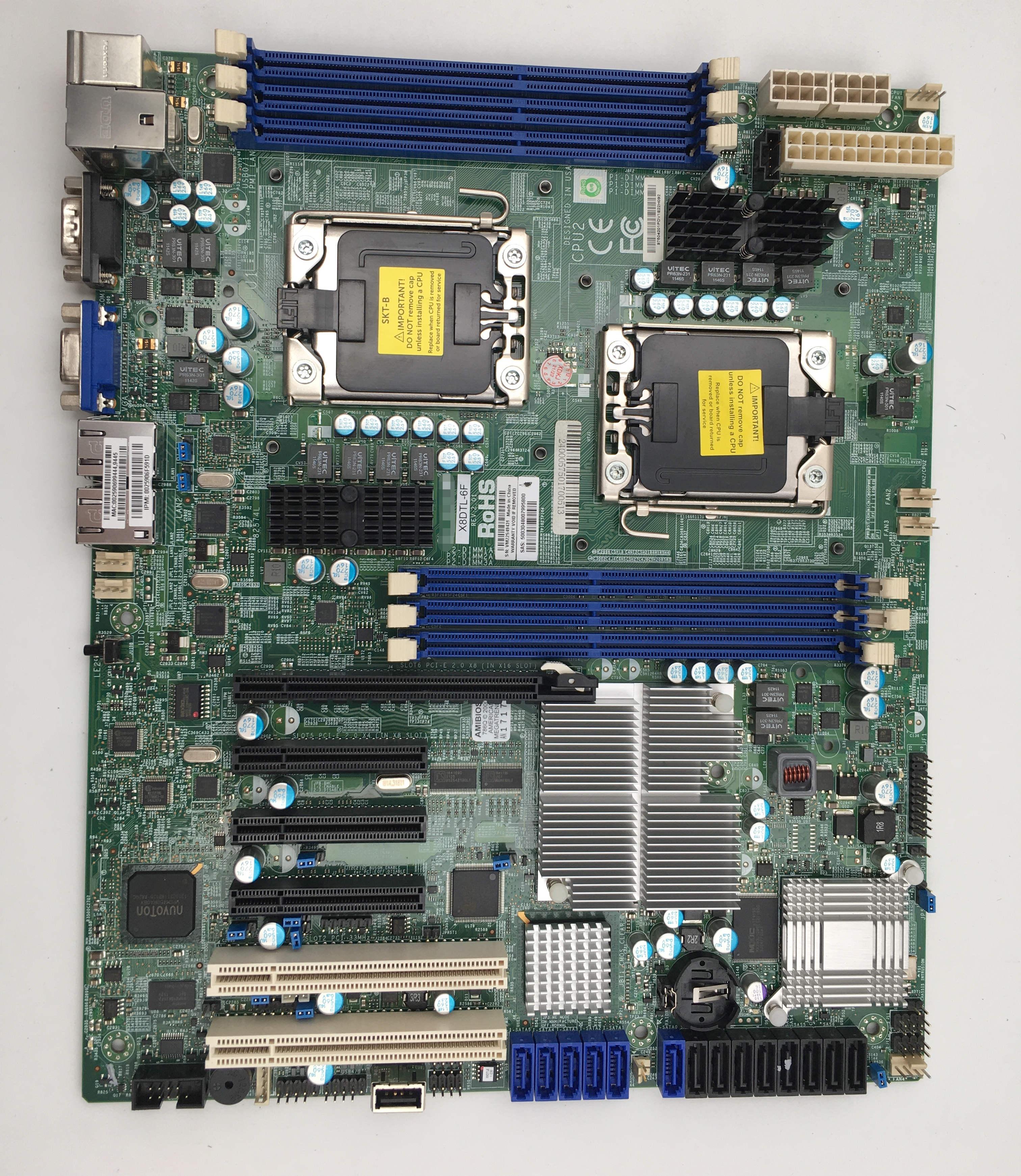 اللوحة الأم محطة عمل الخادم ل Supermicro X8DTL-6F REV2.01