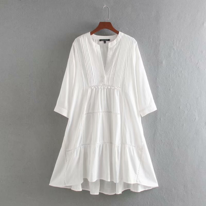 2020 women vintage V Neck lace spliced casual loose dress ladies fur ball decoration press pleats vestidos chic dresses DS3606