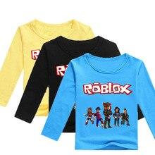 Meninos t camisa mangas compridas crianças meninas jogo da criança crianças topos de algodão dos desenhos animados do bebê t adolescentes roupas infantis completo