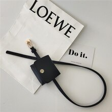 Artistic Rectangular Simple Black for Women Thin Belt with Bag Women's Korean Fashion Belt Casual Al