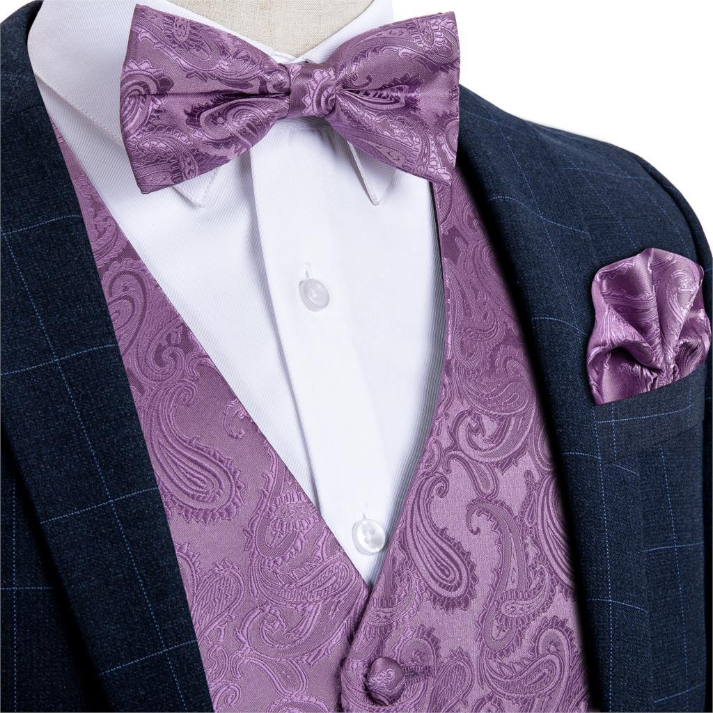 Мужское платье, жилет, костюм для свадебной вечеринки, деловой пиджак, Шелковый жилет с галстуком-бабочкой, квадратный комплект, смокинг, жи...
