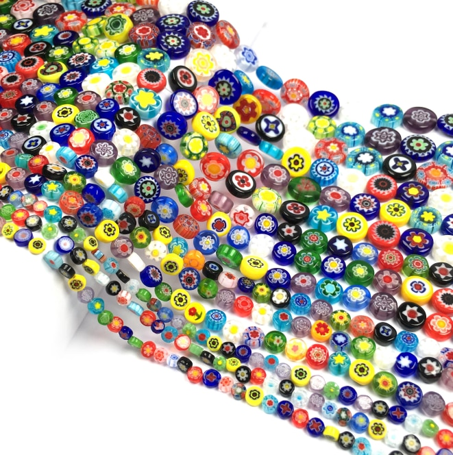 Millefiori Flower Lampwork Glass Beads Oblate Loose Spacer Beads for Jewelry Making Crafts Beacelet DIY Necklace Accessories  - buy with discount