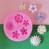 5 small flowers fondant silicone mold for diy pastry cupcake dessert lace cake decoration kitchen accessories baking tool