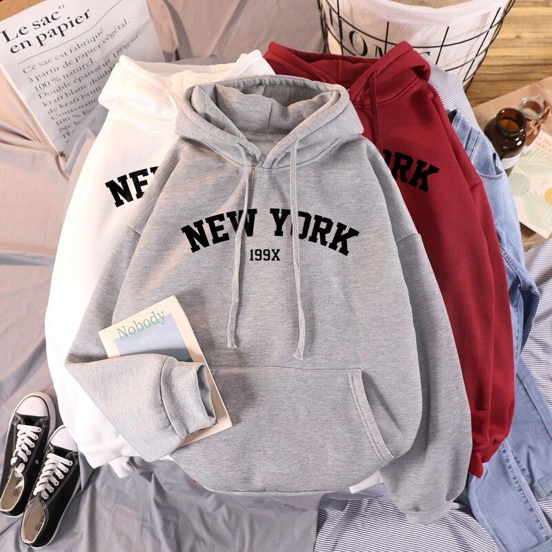 Женские утепленные толстовки 2020, женские осенние Топы, новые толстовки, бархатные зимние женские толстовки с капюшоном и принтом Нью-Йорка