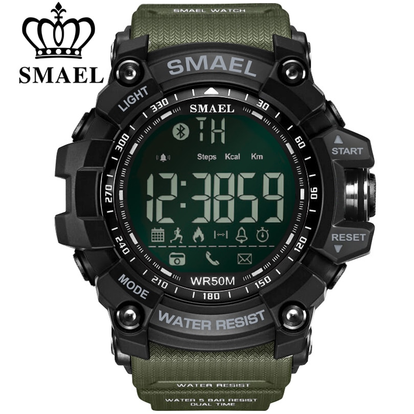 SMAEL Mens Chronograph Watches Sport Male Clock Stop Army Military Watch Men Multifunction Waterproof LED Digital for Man