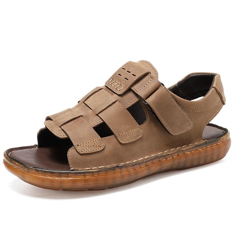 Hot Sale 2021 Summer Beach Men's Sandals Handmade Genuine Leather Sandals Outdoor Non-slip Wading Shoes Comfortable Men Slippers
