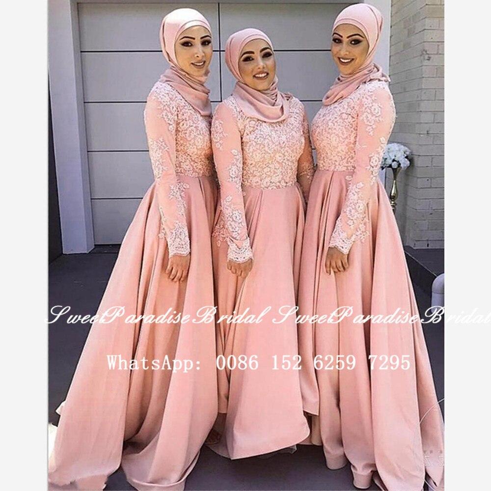 Vestidos para damas de honor musulmanas de encaje Rosa rubor con aplicaciones de manga larga 2020 árabe Dubai mujeres una línea vestido de fiesta de boda