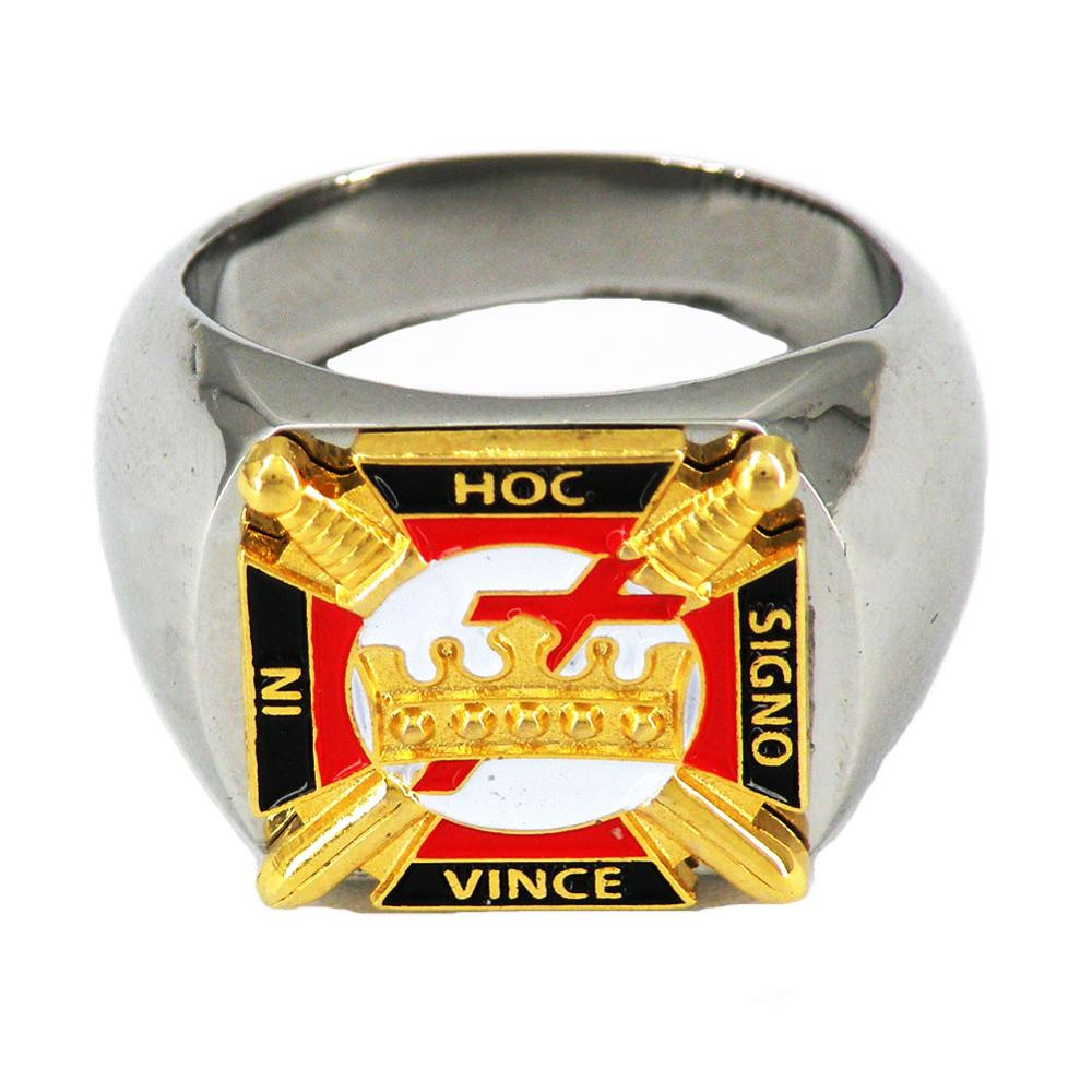 Fanssteel custom made Stainless steel jewelry freemasonry mason's scottish rite  hoc signo vince in masonic ring MBLR0002