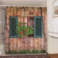 Ensemble de salle de bain avec rideaux de douche  imprime de fleurs de jardin  faux mur impermeable avec plantes en pot pour arriere-plan