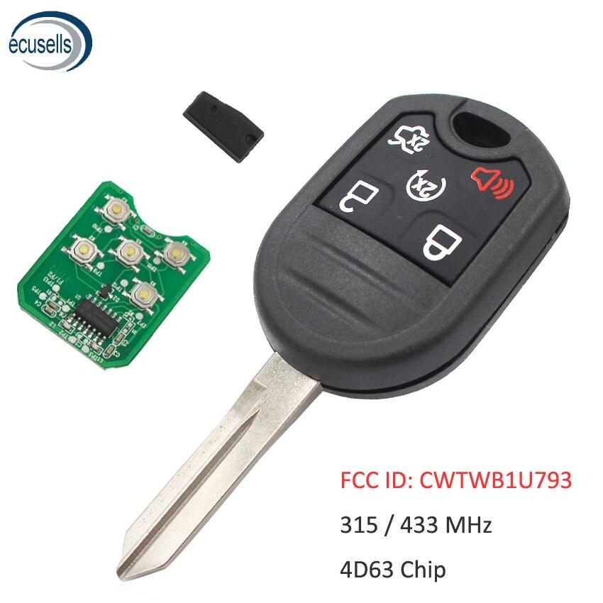 5 botão remoto chave fob para ford explorer windstar 315/433 mhz com 4d63 80bit chip fcc cwtwb1u793