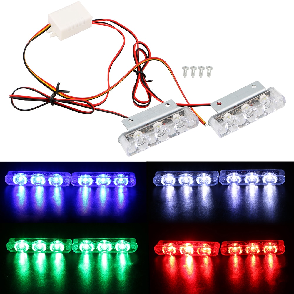 3 LED Strobe Light Car Truck Motorcycle Police Flashing LED Brake Stop Lights Emergency Warning Rear Tail Lamps 2Pcs