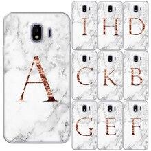 Carcasa de teléfono de silicona blanda con iniciales personalizadas de mármol con 26 letras de nombre en inglés para Samsung J4 J6 Plus J3 J8 2018 J3 J5 2017