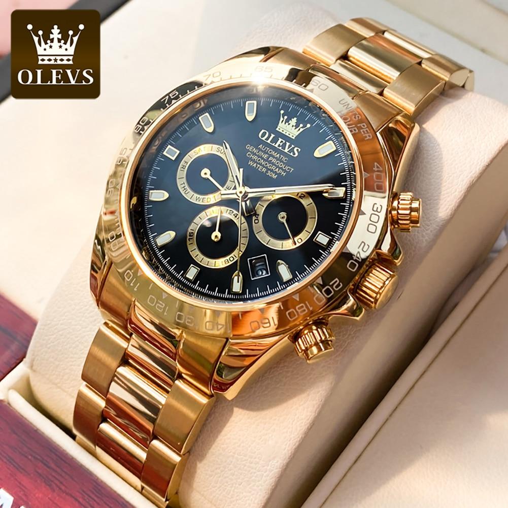 Olevs luxury18K الذهب ساعة رجالي التلقائي الميكانيكية متفوقة جعل حزام الفولاذ المقاوم للصدأ العميق مكافحة تجميد ساعة ditona المعصم