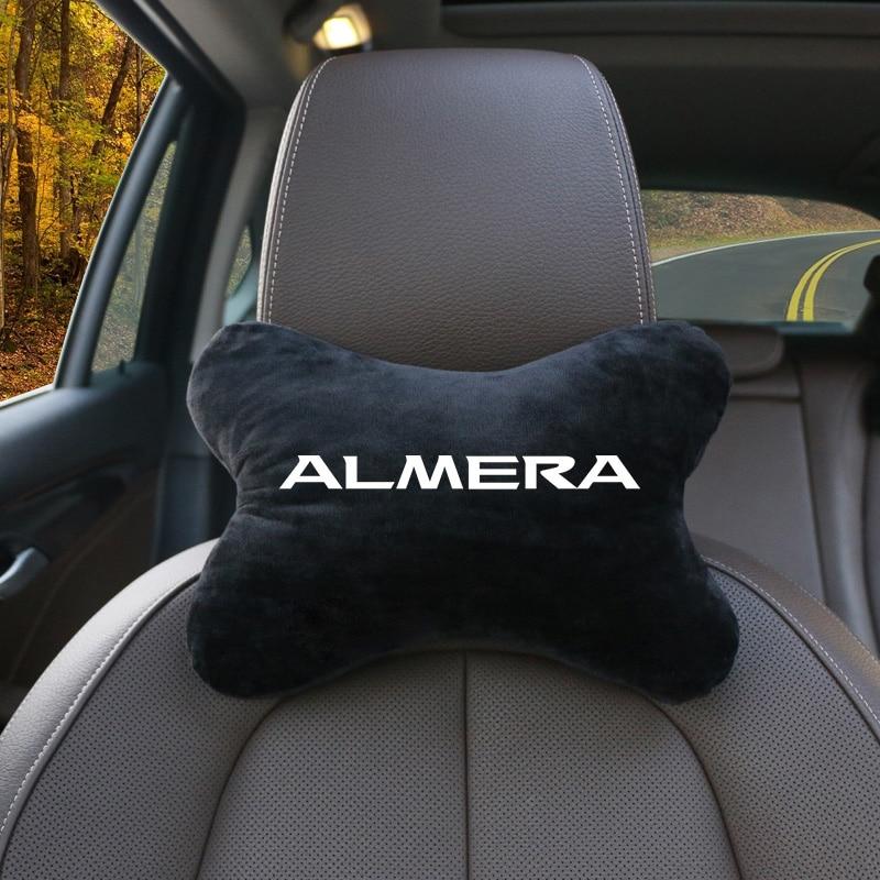 Cojín Lumbar para reposacabezas de coche de nuevo diseño de piel auténtica, almohada de algodón para el cuello del coche Nissan Almera G15 N16, estilismo para el coche