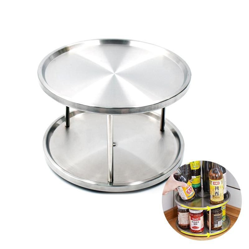 الدورية الجرف التوابل حامل صينية الدوار 2 الطبقة الفولاذ المقاوم للصدأ 360 درجة الغزل رف توابل حامل للمطبخ
