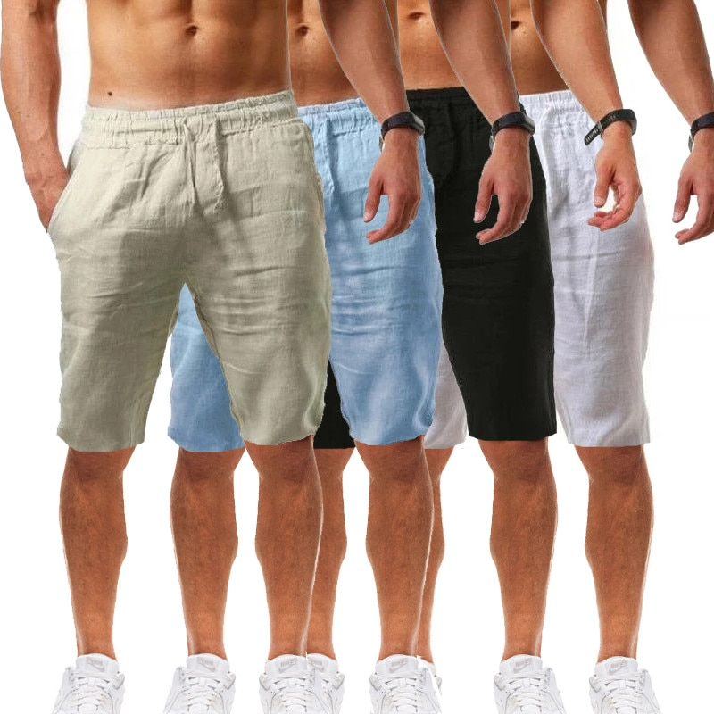 Pantalones cortos de malla de algodón y lino, para hombre... comfortable párr...