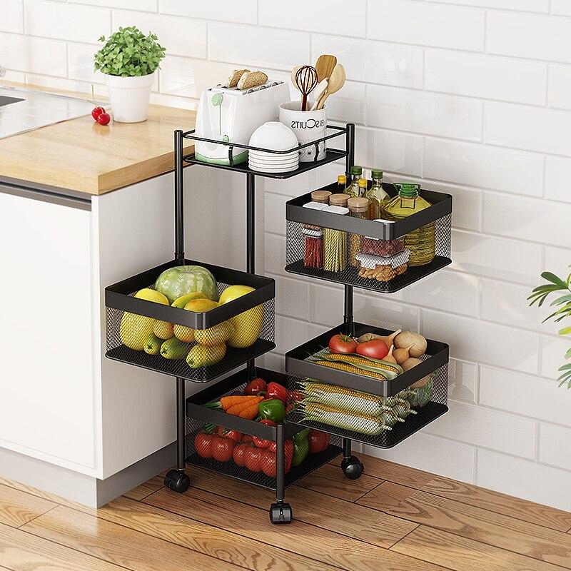 رف تخزين المطبخ قابل للتدوير متعدد الطبقات الفاكهة الخضار رف مع عجلات المنقولة كبيرة السعة متعددة الأغراض المنظم رف