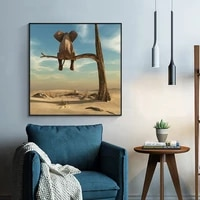 funny little elephant on tree modern canvas paintings wall art animal picture nordic posters and prints for kids room home decor