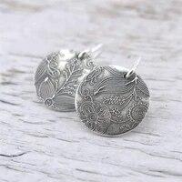 simple silver colour round drop earrings fashion jewelry ladies pendant bohemian earrings girl accessories retro earrings