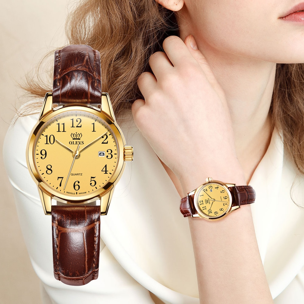 OLEVS Womens Watches Top Brand Fashion casual Luxury Dress Genuine Brown Leather Waterproof Wristwatch for Lady 5566 enlarge