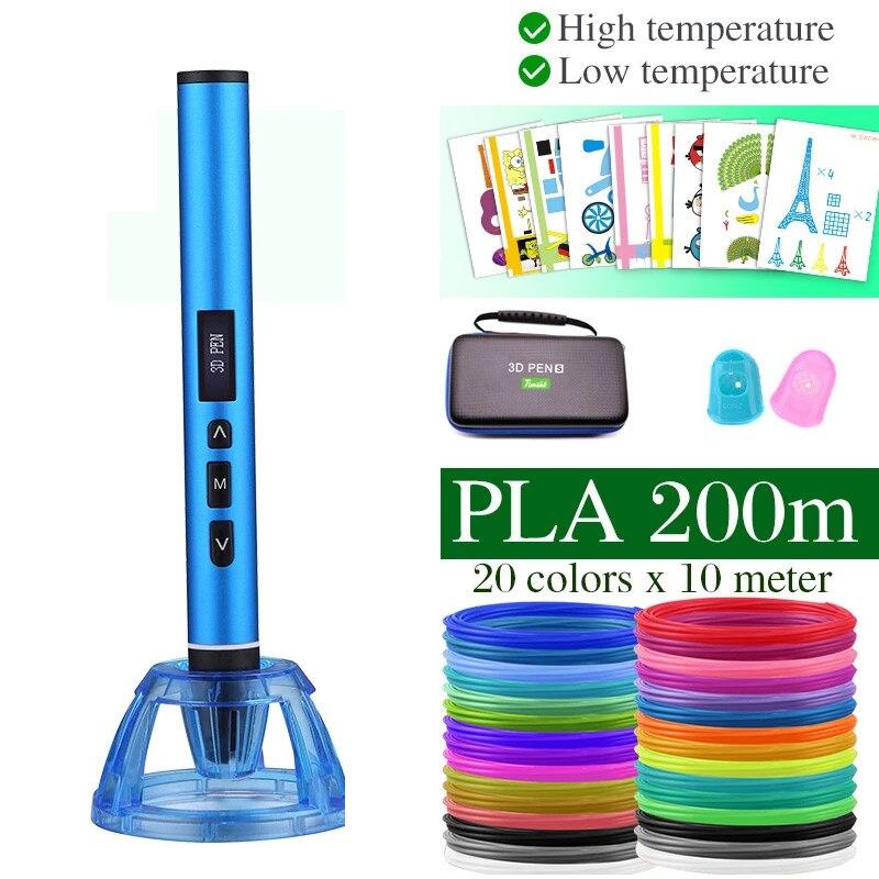 Bolígrafo 3D de alta y baja temperatura, bolígrafo de impresión 3D, puede usar filamento PCL PLA. Caja de Metal con Estuche de transporte, regalo de cumpleaños