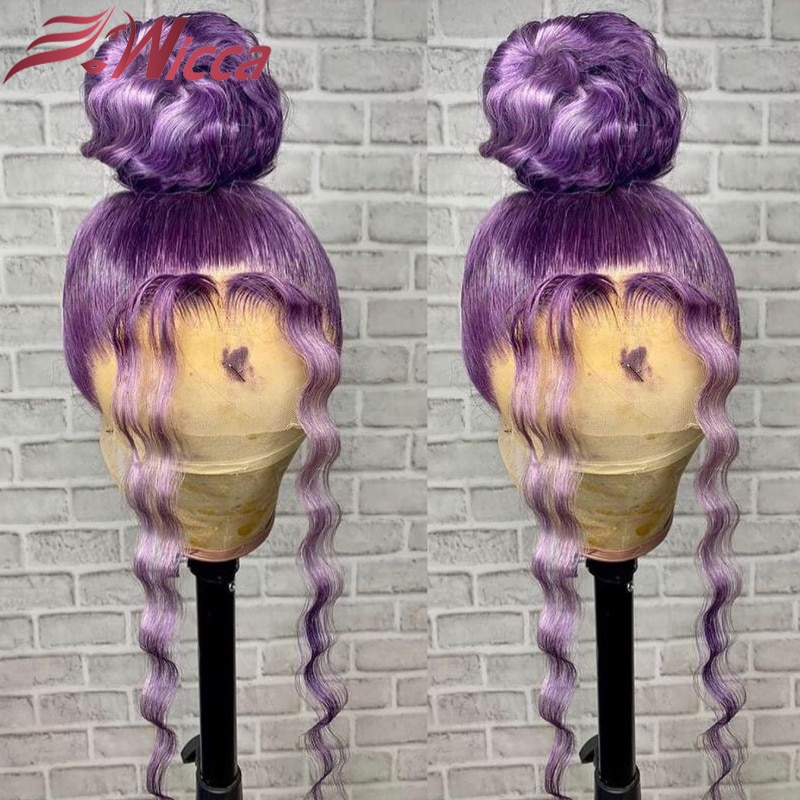 Highlight Purple Color Wig Body Wave Transparent Lace Human Hair Wigs 13x4 Lace Front Wig for Women Remy Hair 180 Density
