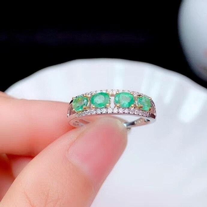 CoLife-خاتم من الفضة الإسترليني والياقوت للنساء ، خاتم ، 925 فضة ، أحجار كريمة ، زمرد ، ياقوت طبيعي ، 3 مللي متر * 4 مللي متر