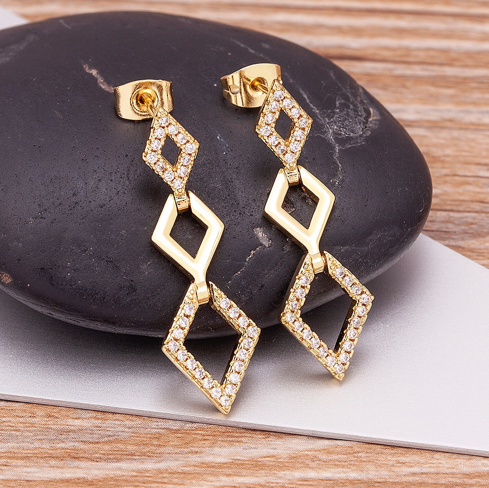 AliExpress - Simple Design Fashion Multiple Rhombus Connections Dangle Earrings Gold Color Woman Birthday Gift Zircon Drop Jewelry Gifts