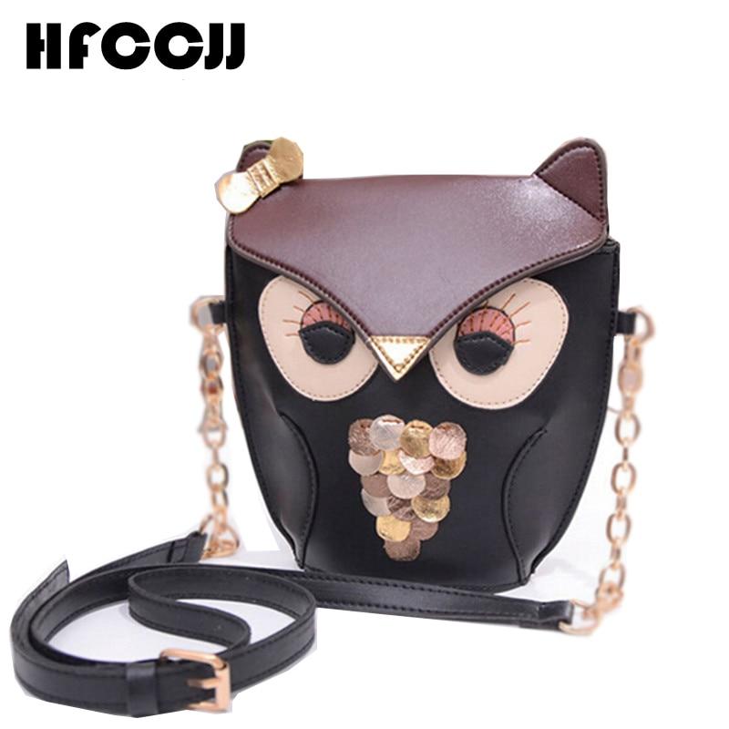 2016 coreano nuevo Retro de cuero búho encantador bolso de las mujeres Bolsa de mensajero Fox cadena bolso para niñas, Bolsa femenina HC0022