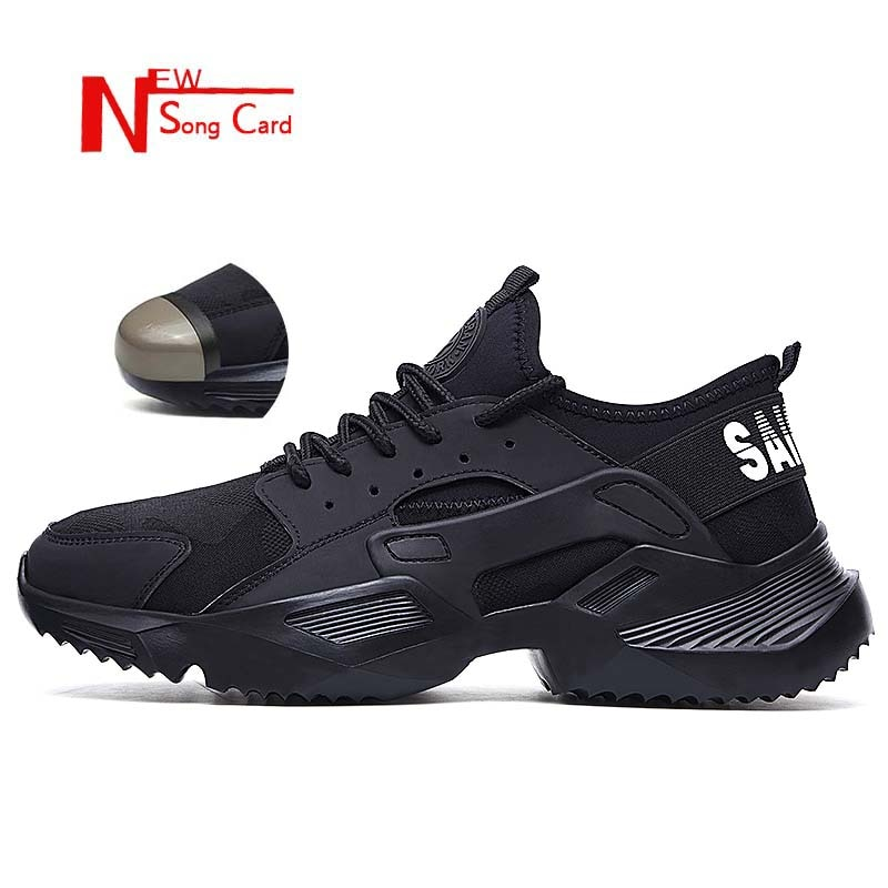 New song card Lightweight fashion breathable Work sneakers Safety Shoes men and women steel toe cap Anti-crush work safety Boots
