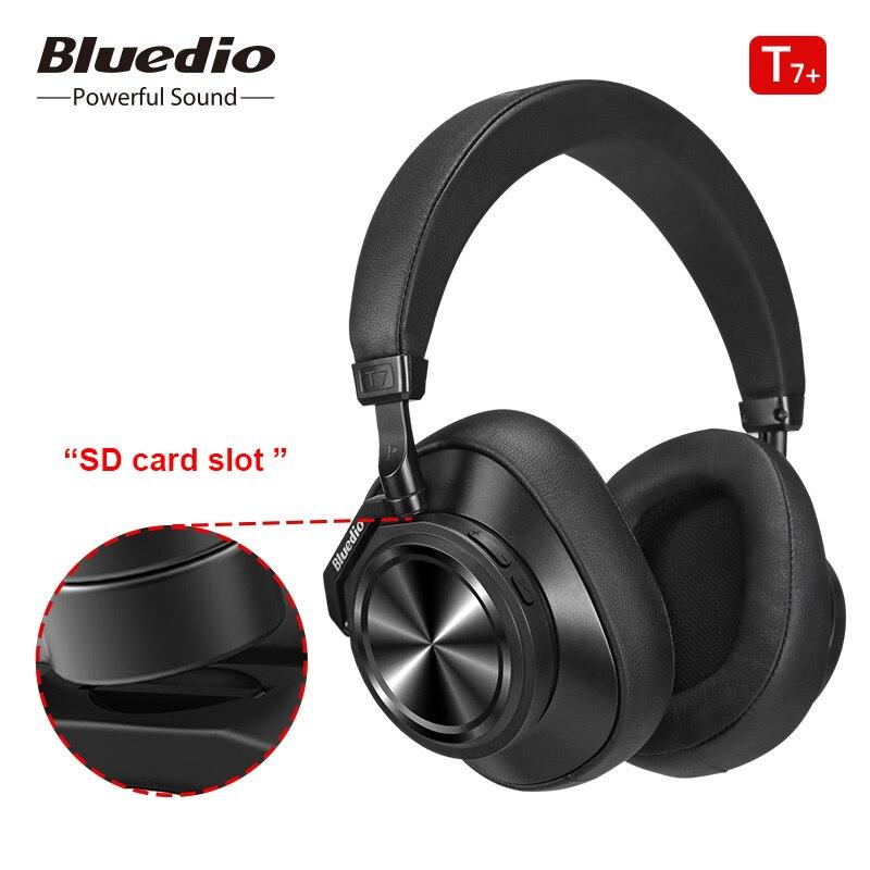 Bluetooth наушники Bluedio T7 Plus, настраиваемое пользователем активное шумоподавление, беспроводная гарнитура для телефонов, поддержка слота для sd-карты