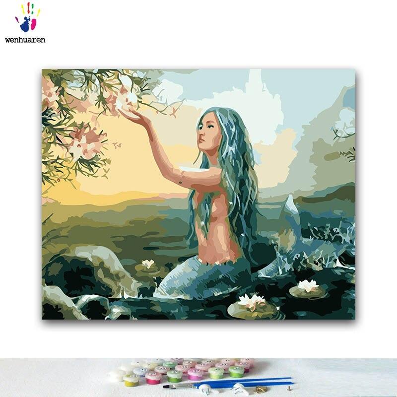 Diy pintura para colorir por números sereia no mar pinturas por números com kits 40x50 emoldurado