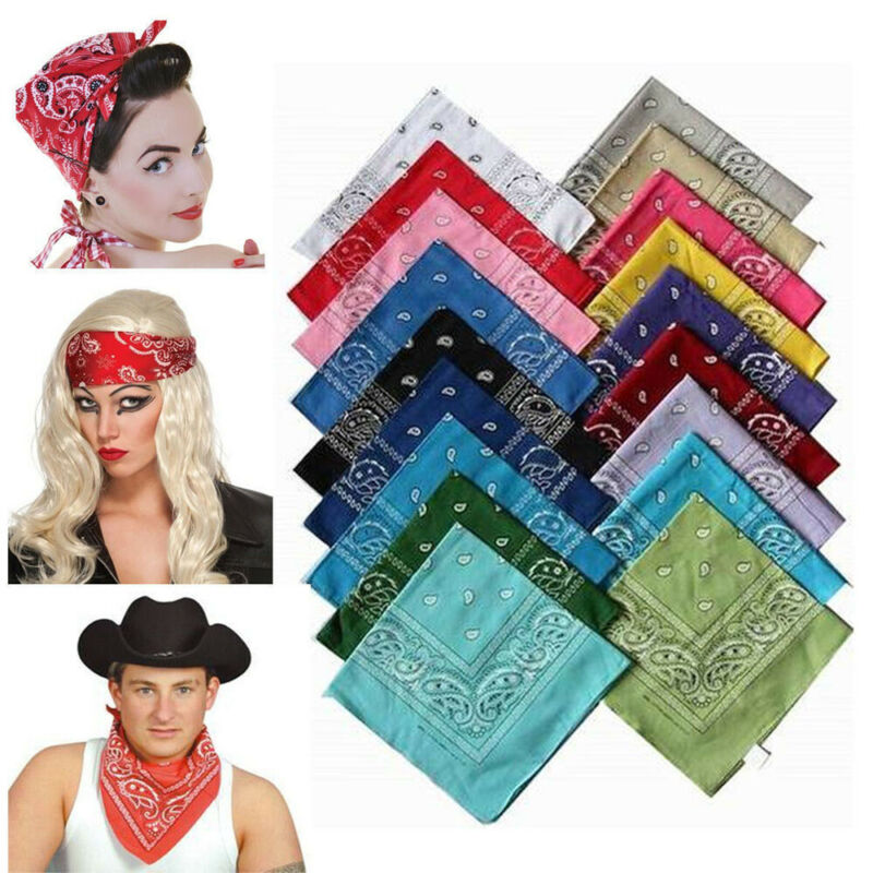 100% Cotton Square Scarf Paisley Bandana Head Wrap Women Men Neck Wrist Band Handkerchief Extreme Sports Vintage Pocket Towel
