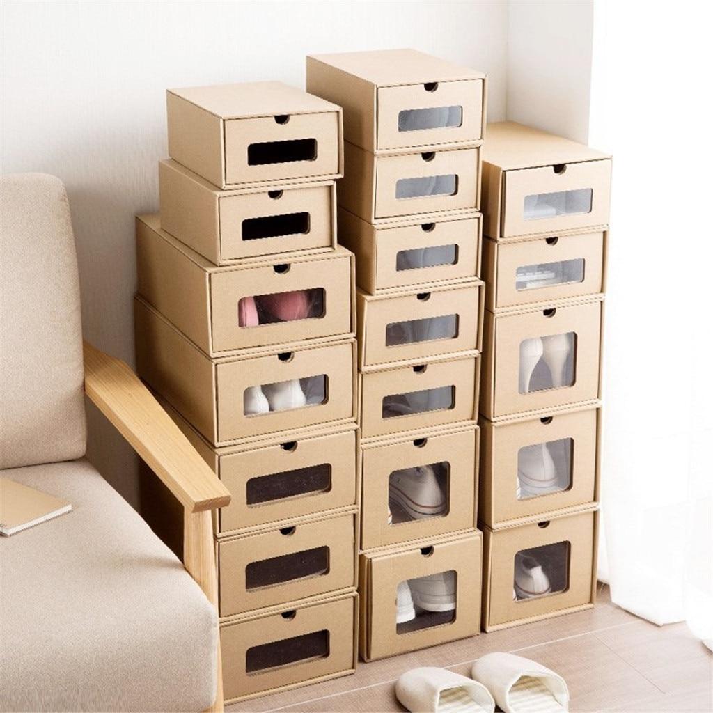 Caja de almacenamiento de zapatos, caja de cartón Kraft grueso, caja apilable transparente, caja de almacenamiento de zapatos de baloncesto, caja de zapatos # YL5