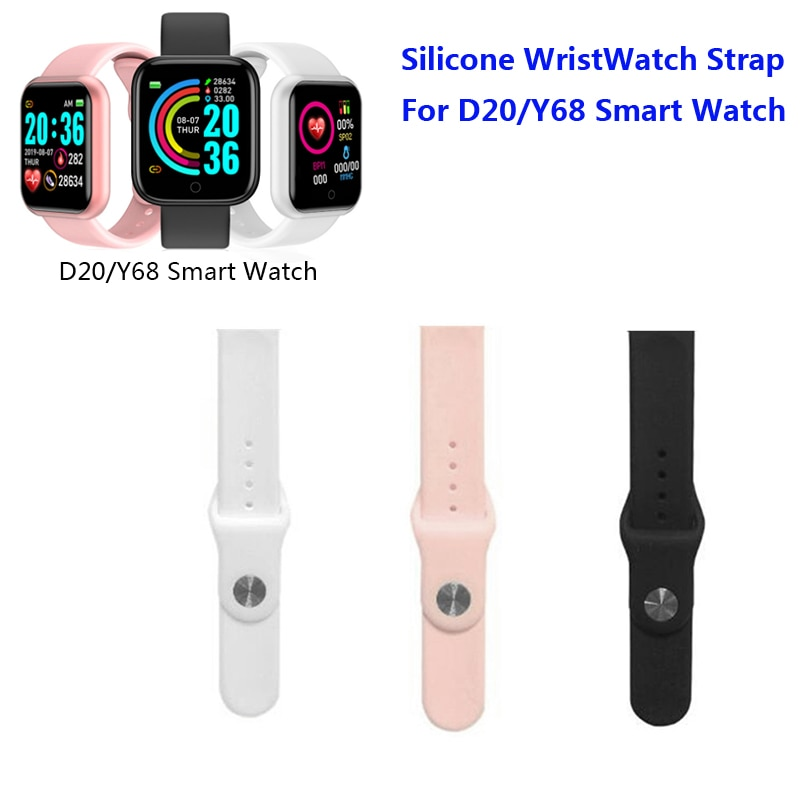 Silicone Wrist Strap for Smart Watch D20 Y68 Replaceable Soft TPU Durable Comfortable Belt For Wrist